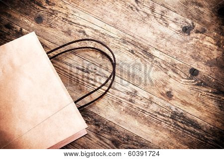 Empty Bag Brown Wooden Background.
