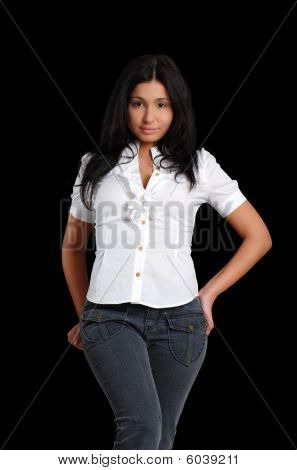 Sexy Young Latin Woman Wearing Jeans