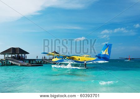 SOUTH ARI ATOLL, MALDIVES - DECEMBER 12 2013: Twin otter seaplane at Maldives