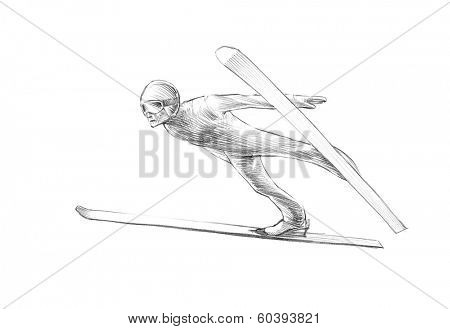 Hand-drawn Sketch, Pencil Illustration of Ski Jumper Mid Air | High Resolution Scan, Decent Copy Space