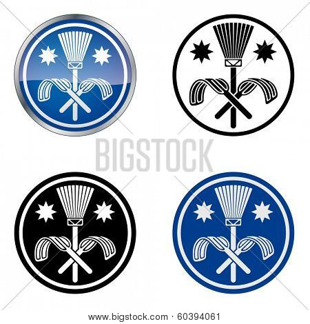 Traditional Chimney Sweeper Trade Symbol. Traditional symbol of the Chimney Sweeper's Guild. Four variations from black and white to glossy. 10 EPS vector.