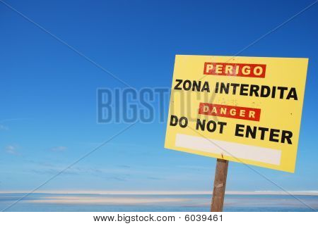 Do Not Enter Sign At The Beach