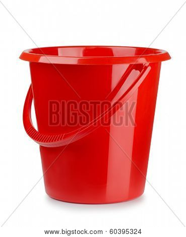 Red plastic bucket isolated on white