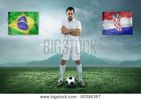Soccer player stay at field. Game between Brasil and Croatia national teams.