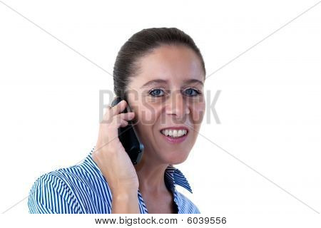 Middle Aged Business Woman Smiling On The Phone