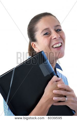 Middle Aged Business Woman Laughing With File