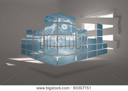 Dna interface on abstract screen against digitally generated room with bordered up window