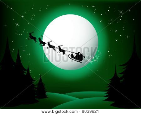 Santa`s sleigh - vector (green version)