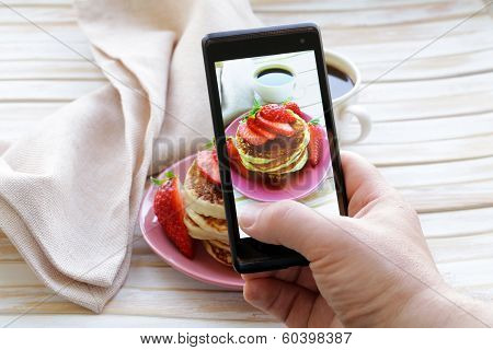 smartphone shot food photo  - pancakes for breakfast with fresh strawberries