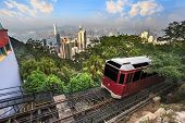 picture of tram  - The Victoria Peak Tram and Hong Kong city skyline - JPG