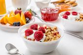 stock photo of yogurt  - Healthy Breakfast Meal  - JPG