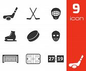 foto of hockey arena  - Vector black hockey icons set on white background - JPG