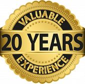 image of experiments  - Valuable 20 years of experience golden label with ribbon - JPG