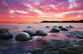 stock photo of unique landscape  - Moeraki Boulders on the Koekohe beach - JPG