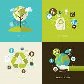 stock photo of recycled paper  - Set of flat design concept icons for web and mobile phone services and apps - JPG