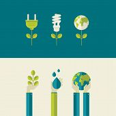 stock photo of save water  - Set of flat design vector illustration concepts for green energy and save the planet - JPG