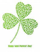 picture of shamrocks  - green vector shamrock made of small shamrocks - JPG