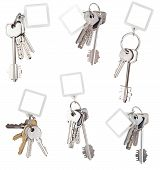 Set Of Bunch Of Home Keys With Blank Keychain