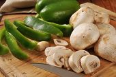 Sliced Mushrooms And Green Peppers