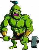 stock photo of ogre  - Cartoon ogre with a big hammer - JPG