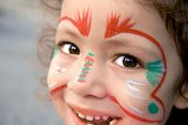 image of face painting  - A close up of a Turkish little girl