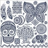 image of skull  - Set of isolated ornamental tribal elements and symbols - JPG
