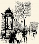 Vector illustration - Paris - avenue des champs-elysees