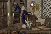 picture of witch-doctor  - A wizard in his library casts a spell with his magic wand and staff - JPG