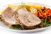stock photo of pork cutlet  - Roast pork - JPG