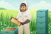 picture of beehives  - A vector illustration of beekeeper takes honeycomb frame out of beehive - JPG
