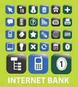 internet finance, bank, money buttons, signs, icons, vector