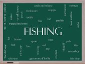 stock photo of musky  - Fishing Word Cloud Concept on a Blackboard with great terms such as bobber lure pole and more - JPG