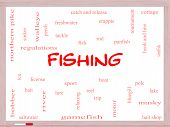 stock photo of fishing bobber  - Fishing Word Cloud Concept on a Whiteboard with great terms such as bobber lure pole and more - JPG