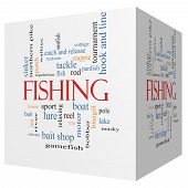 stock photo of fishing bobber  - Fishing 3D cube Word Cloud Concept with great terms such as bobber lure pole and more - JPG