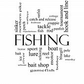 foto of fishing bobber  - Fishing Word Cloud Concept in black and white with great terms such as bobber lure pole and more - JPG