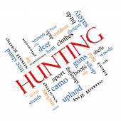 foto of hunt-shotgun  - Hunting Word Cloud Concept angled with great terms such as shotgun game deer and more - JPG