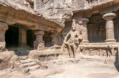 picture of ellora  - View at the Guardian in Kailasanatha Temple  - JPG