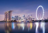 stock photo of hsbc  - Singapore skyline at night - JPG