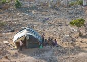 JAIPUR INDIA - JANUARY 29: Tents of the poor homeless on the waste ground on January 29 2014 in Jaip