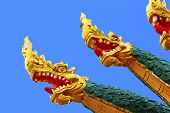 pic of dragon head  - Asian Dragon heads temple sculpture in Laos - JPG