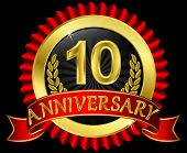 10 years anniversary golden label with ribbons, vector illustration