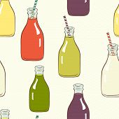image of fruit shake  - pattern with hand drawn cartoon bottles with striped straws and fresh drinks Lemonade - JPG