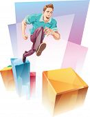 stock photo of upstairs  - The young man in a casual closes is jumping up to the next level over the gap - JPG
