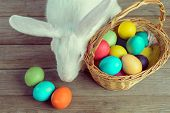 stock photo of wooden basket  - White Easter bunny with basket of colored eggs on wooden table top view - JPG