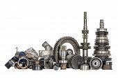 stock photo of spare  - Set of various spare parts of engine and gear box - JPG