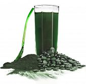 stock photo of green algae  - Spirulina  algae powder glass drink nutritional supplement close up  - JPG