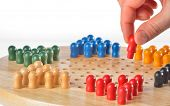 foto of chinese checkers  - details of chinese chequers on table, close up ** Note: Shallow depth of field - JPG