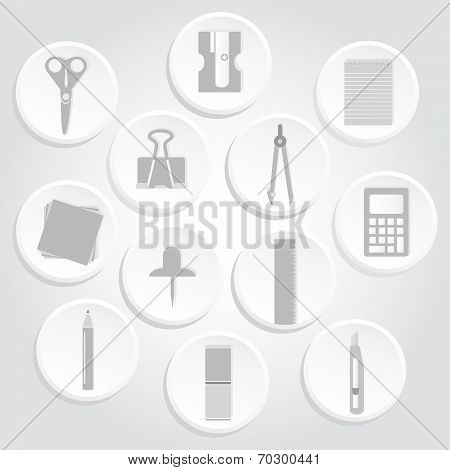 Gray Icons Of Office Supplies