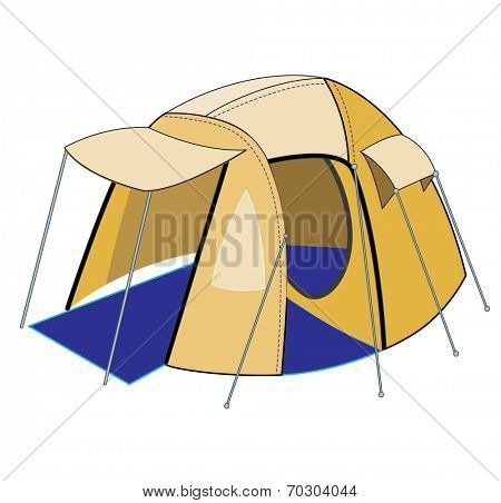 tourist tent isolated on white (vector illustration)