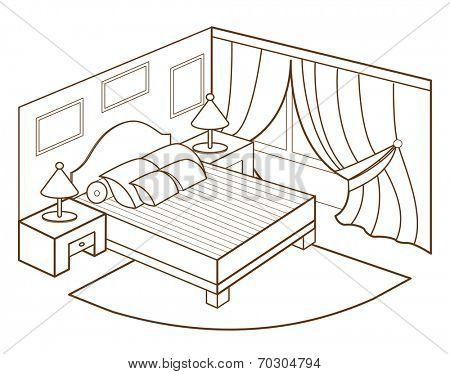 modern bedroom interior (vector illustration)